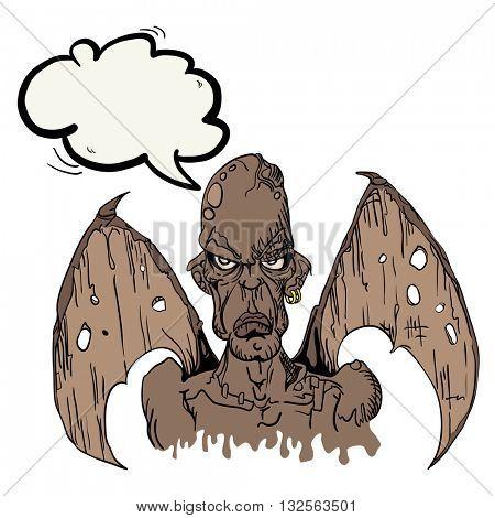 evil demon with speech bubble cartoon