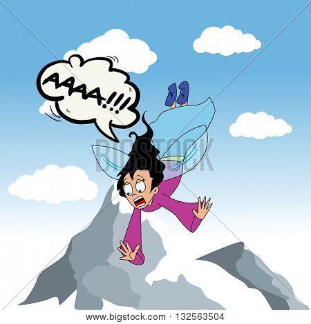 falling fairy scream cartoon