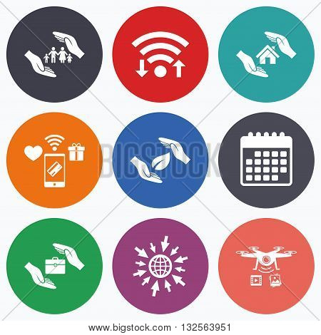 Wifi, mobile payments and drones icons. Hands insurance icons. Human life insurance symbols. Nature leaf protection symbol. House property insurance sign. Calendar symbol.