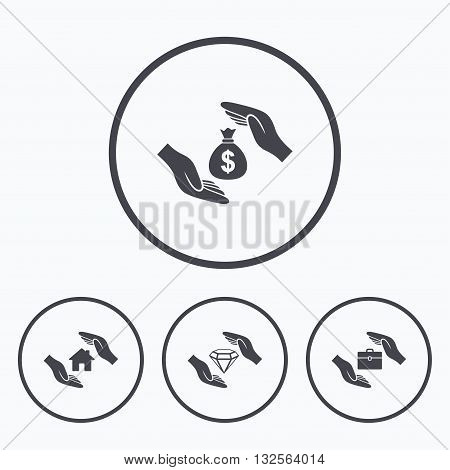Hands insurance icons. Money bag savings insurance symbols. Jewelry diamond symbol. House property insurance sign. Icons in circles.