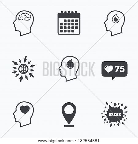 Calendar, like counter and go to web icons. Head with brain icon. Male human think symbols. Blood drop donation sign. Love heart. Location pointer.