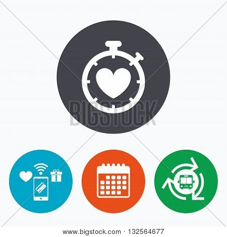 Heart Timer sign icon. Stopwatch symbol. Heartbeat palpitation. Mobile payments, calendar and wifi icons. Bus shuttle.