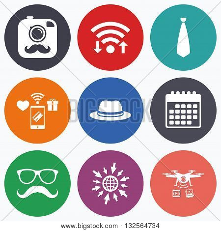 Wifi, mobile payments and drones icons. Hipster photo camera with mustache icon. Glasses and tie symbols. Classic hat headdress sign. Calendar symbol.