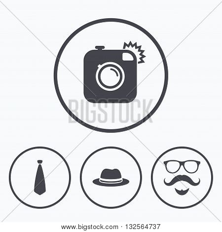 Hipster photo camera. Mustache with beard icon. Glasses and tie symbols. Classic hat headdress sign. Icons in circles.
