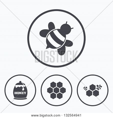 Honey icon. Honeycomb cells with bees symbol. Sweet natural food signs. Icons in circles.