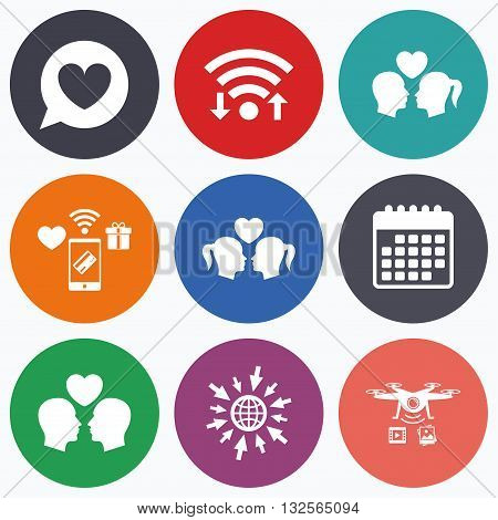 Wifi, mobile payments and drones icons. Couple love icon. Lesbian and Gay lovers signs. Romantic homosexual relationships. Speech bubble with heart symbol. Calendar symbol.