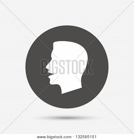 Talk or speak icon. Loud noise symbol. Human talking sign. Gray circle button with icon. Vector