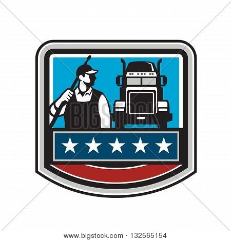 Illustration of a male pressure washing cleaner worker holding a water blaster on shoulder looking to the side with truck viewed from front set inside shield crest with american stars and stripes flag in the background.