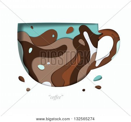 Decorative vivid cup with splash carved on white paper with brown abstract graphics on the background