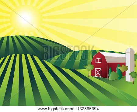 Farm Land - rolling green farmland with red barn, silo and shining sun