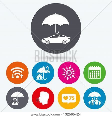 Wifi, like counter and calendar icons. Family, Real estate or Home insurance icons. Life insurance and umbrella symbols. Car protection sign. Human talk, go to web.