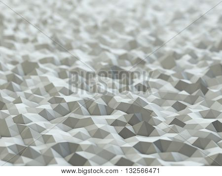 White polygonal 3D surface background with shallow depth of field. Rendered abstract 3D image.