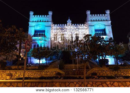 Night photo of City Hall in Kavala, East Macedonia and Thrace, Greece
