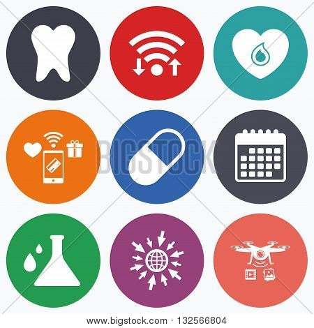 Wifi, mobile payments and drones icons. Maternity icons. Pill, tooth, chemistry and heart signs. Blood donation symbol. Lab bulb with drops. Dental care. Calendar symbol.