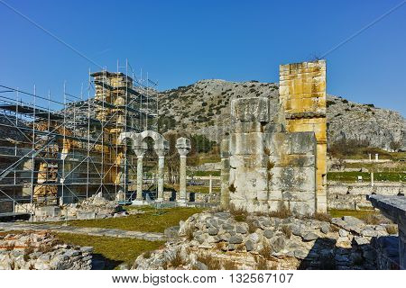 Panoramic view of Basilica in the archeological area of ancient Philippi, Eastern Macedonia and Thrace, Greece