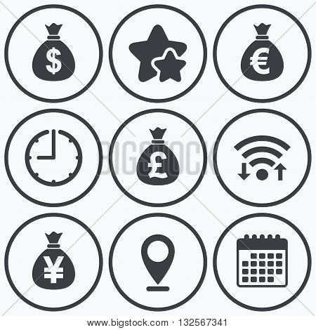 Clock, wifi and stars icons. Money bag icons. Dollar, Euro, Pound and Yen symbols. USD, EUR, GBP and JPY currency signs. Calendar symbol.