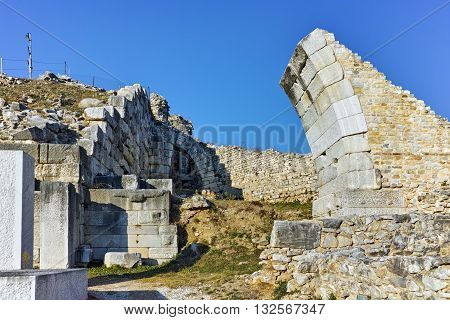 Entrance of Ancient amphitheater in the archeological area of Philippi, Eastern Macedonia and Thrace, Greece
