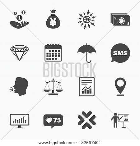 Calendar, go to web and like counter. Money, cash and finance icons. Money savings, justice scales and report signs. Presentation, analysis and umbrella symbols. Sms speech bubble, talk symbols.