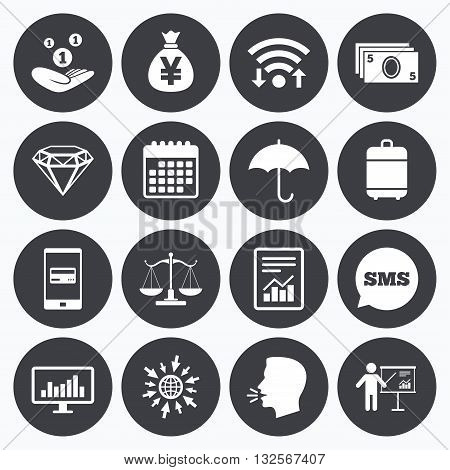 Wifi, calendar and mobile payments. Money, cash and finance icons. Money savings, justice scales and report signs. Presentation, analysis and umbrella symbols. Sms speech bubble, go to web symbols.