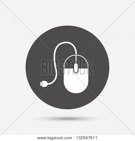 Computer mouse sign icon. Optical with wheel symbol. Gray circle button with icon. Vector