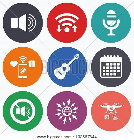 Wifi, mobile payments and drones icons. Musical elements icons. Microphone and Sound speaker symbols. No Sound and acoustic guitar signs. Calendar symbol.