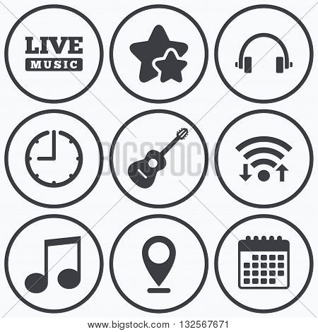 Clock, wifi and stars icons. Musical elements icons. Musical note key and Live music symbols. Headphones and acoustic guitar signs. Calendar symbol.
