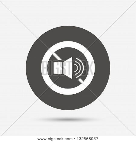 Speaker volume sign icon. No Sound symbol. Gray circle button with icon. Vector