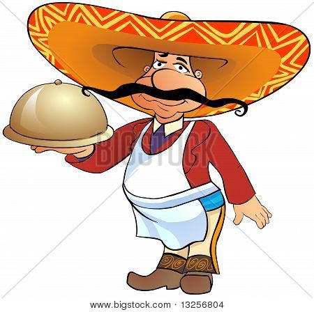 Mexican waiter with a tray