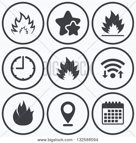 Clock, wifi and stars icons. Fire flame icons. Heat symbols. Inflammable signs. Calendar symbol.