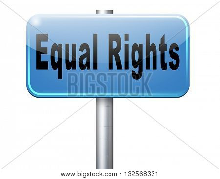 Equal rights no discrimination and same opportunities for all women man disabled black and white solidarity discrimination of people with disability physical or mental.