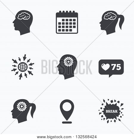 Calendar, like counter and go to web icons. Head with brain icon. Male and female human think symbols. Cogwheel gears signs. Woman with pigtail. Location pointer.