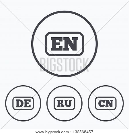 Language icons. EN, DE, RU and CN translation symbols. English, German, Russian and Chinese languages. Icons in circles.