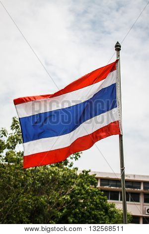 Close view of the Thai flag.Thai flag.Flag of Thailand.Image of waving Thai flag.Thailand Flag on white background.