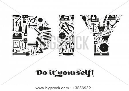 Do it yourself concept with letters DIY made of tools symbols