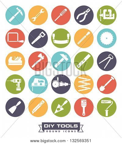 Collection of DIY and crafting tool vector icons in colored circles
