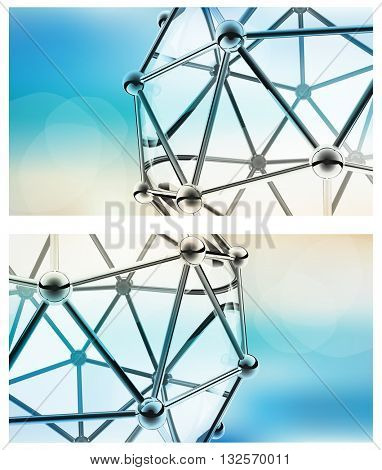 vector scientific 3D model of the molecule an atom of metal and glass
