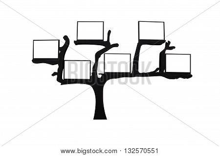 abstract tree with blank space for text isolated on white back groundwith clipping path