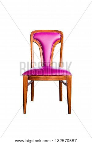 purple leather chair isolated on white with clipping path