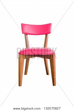 red leather chair isolated on white with clipping path