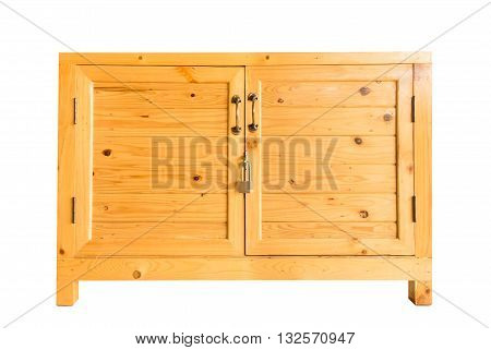 plank wood box with cover and key isolated on white background with clipping path