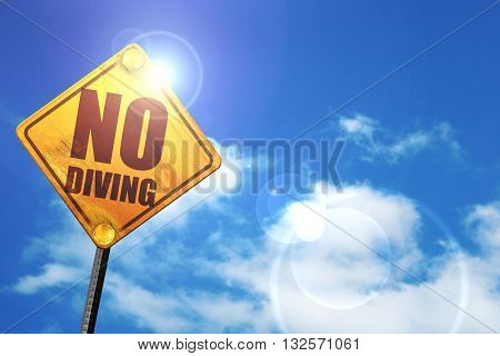 no diving, 3D rendering, glowing yellow traffic sign