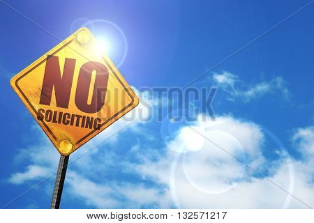 non-solliciting, 3D rendering, glowing yellow traffic sign