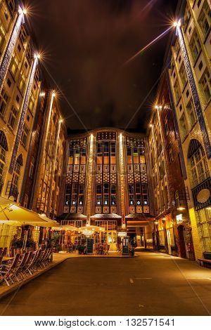 Hackesche Hoefe In Berlin, Germany, At Night