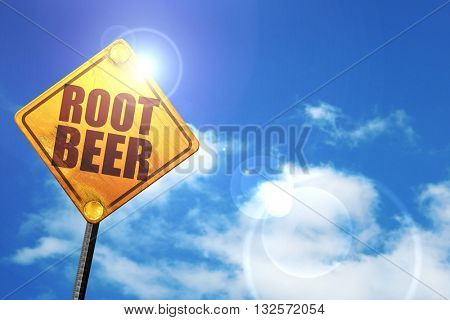 root beer, 3D rendering, glowing yellow traffic sign