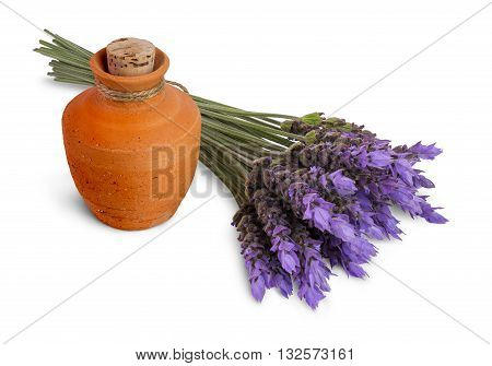 bundle of lavender flowers and ceramic pot with essential oil isolated on white background