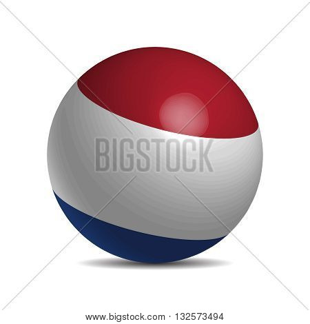 Netherlands flag on a 3d ball with shadow, vector illustration