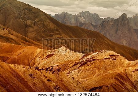 Nice colourful rocks of Moonland landscape Leh Jammu Kashmir India. The Moonland part of Himalayan mountain is famous for it's rock formation and texture which looks like a part of moon on earth.