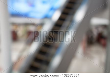 Abstract blurred background of escalator in Airport shallow depth of focus