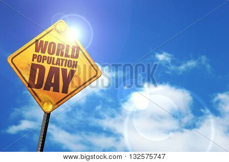 world population day, 3D rendering, glowing yellow traffic sign