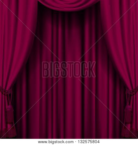 Dark red curtain. Retro artistic cherry-colored background. Artistic poster. 3D illustration